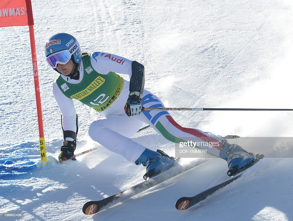 Irene Curtoni of Italy clears a gate during the first run of the women's World Cup giant slalom in Aspen on November 24, 2012. AFP PHOTO/Don EMMERT