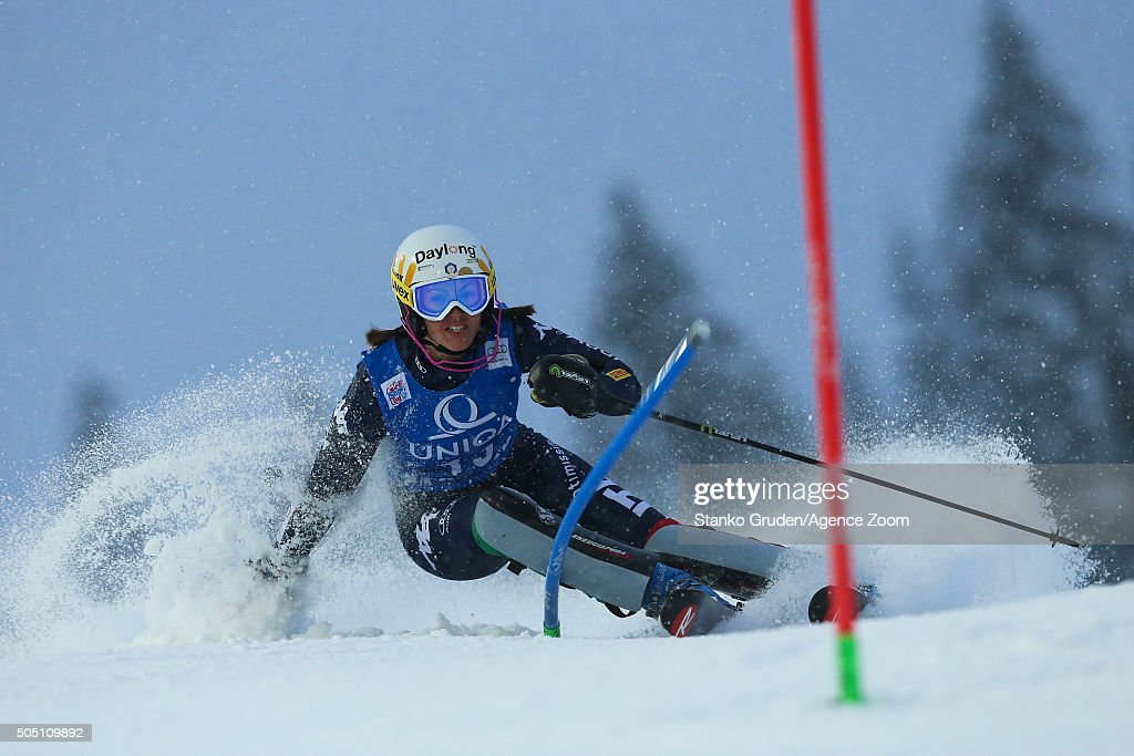 <a gi-track='captionPersonalityLinkClicked' href=/galleries/search?phrase=Irene+Curtoni&family=editorial&specificpeople=5589660 ng-click='$event.stopPropagation()'>Irene Curtoni</a> of Italy competes during the Audi FIS Alpine Ski World Cup Women's Slalom on January 15, 2016 in Flachau, Austria.