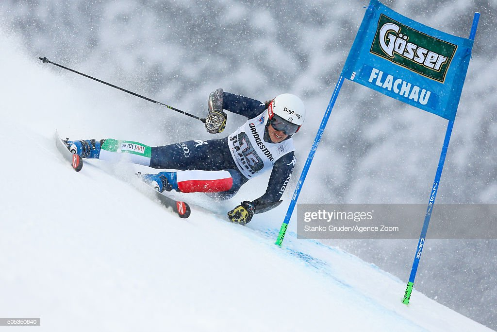 <a gi-track='captionPersonalityLinkClicked' href=/galleries/search?phrase=Irene+Curtoni&family=editorial&specificpeople=5589660 ng-click='$event.stopPropagation()'>Irene Curtoni</a> of Italy competes during the Audi FIS Alpine Ski World Cup Women's Giant Slalom on January 17, 2016 in Flachau, Austria.