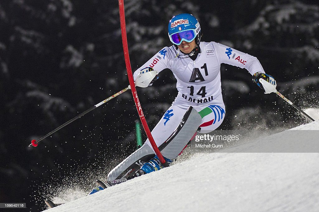 Irene Curtoni of Italy races down the course whilst competing in the Audi FIS Alpine Ski World Cup Slalom race on January 15, 2013 in Flachau, Austria.