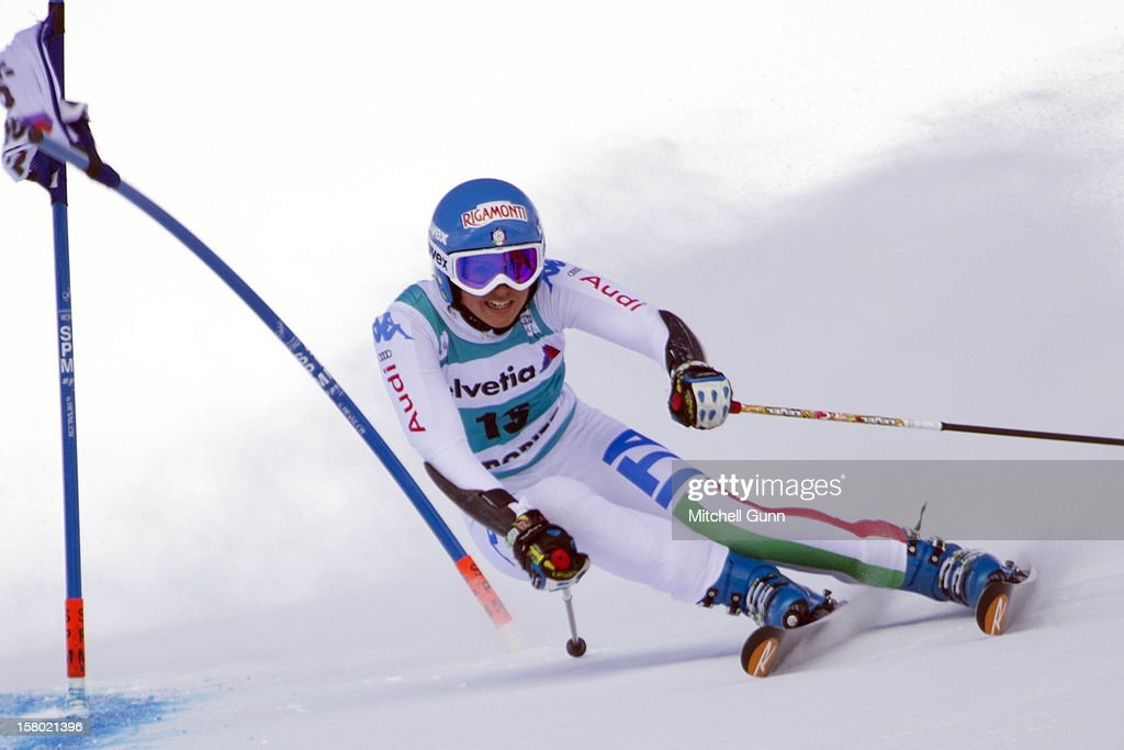 Irene Curtoni of italy races down the piste during the Audi FIS Alpine Ski World Giant Slalom race on December 9 2012 in St Moritz, Switzerland.