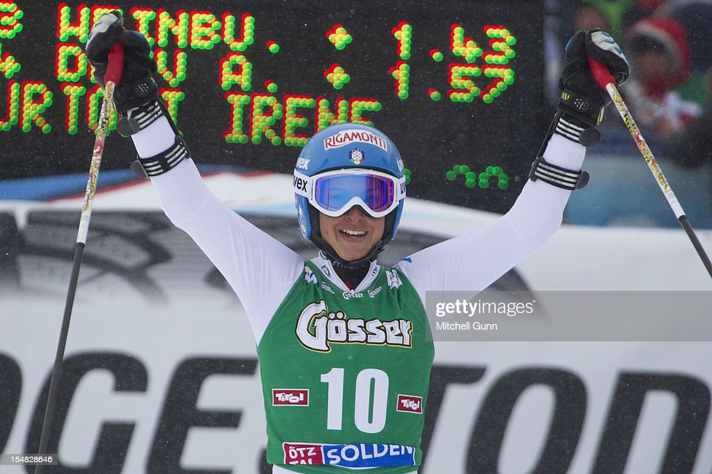 <a gi-track='captionPersonalityLinkClicked' href=/galleries/search?phrase=Irene+Curtoni&family=editorial&specificpeople=5589660 ng-click='$event.stopPropagation()'>Irene Curtoni</a> of Italy reacts in the finish area after competing in the women's Giant Slalom at the Audi FIS Alpine Ski World Cup on October 27, 2012 in Solden, Austria.
