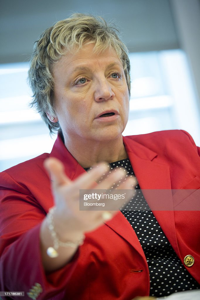 Irene Dorner, group managing director of HSBC Holdings Plc and chief executive officer of HSBC North America Holdings Inc., speaks during an interview in New York, U.S., on Friday, June 28, 2013. HSBC Holdings Plc, Europe's biggest bank, and Citigroup Inc. won approval from China's securities regulator to sell domestic mutual funds, expanding their scope of financial services in the local market. Photographer: Scott Eells/Bloomberg via Getty Images