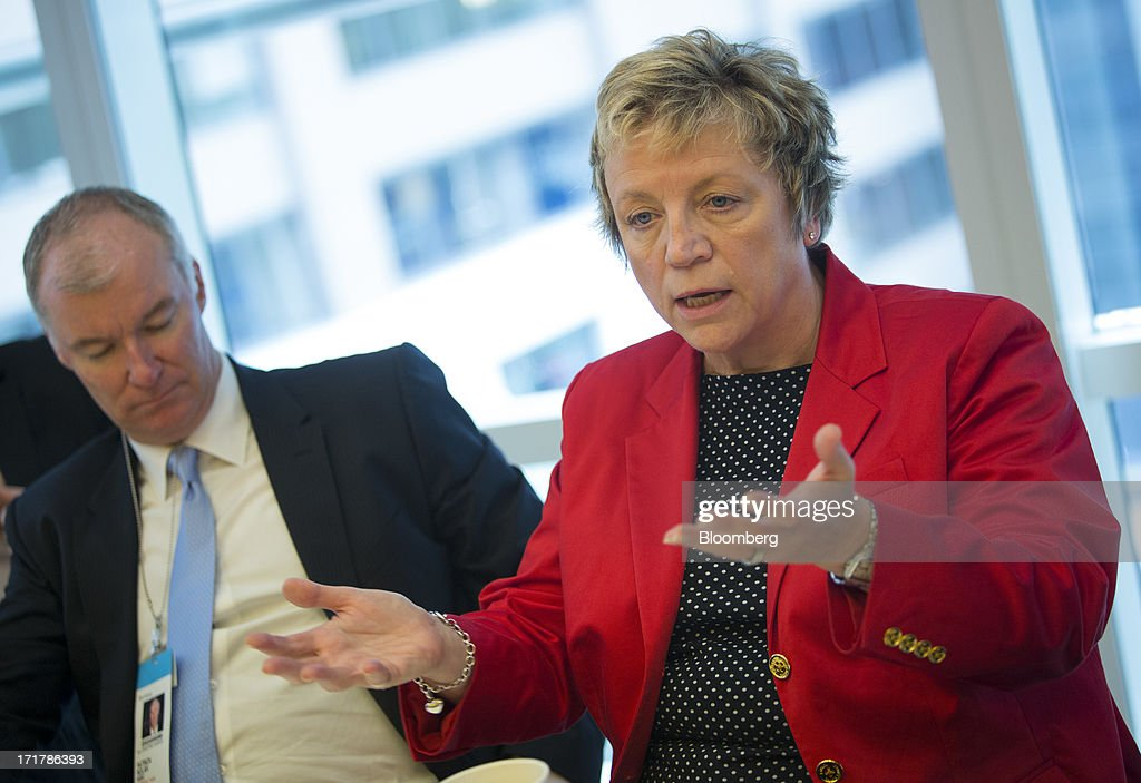 Irene Dorner, group managing director of HSBC Holdings Plc and chief executive officer of HSBC North America Holdings Inc., right, speaks during an interview in New York, U.S., on Friday, June 28, 2013. HSBC Holdings Plc, Europe's biggest bank, and Citigroup Inc. won approval from China's securities regulator to sell domestic mutual funds, expanding their scope of financial services in the local market. Photographer: Scott Eells/Bloomberg via Getty Images