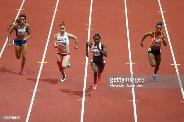 Irene Ekelund of Sweden Ewa Swoboda of Poland Dina AsherSmith of Great Britain Northern Ireland and Jamile Samuel of Netherlands compete iin the...