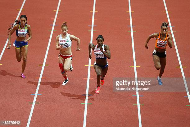 Irene Ekelund of Sweden Ewa Swoboda of Poland Dina AsherSmith of Great Britain Northern Ireland and Jamile Samuel of Netherlands compete iin the...