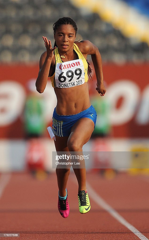 Irene Ekelund of Sweden in the Girls 100m Round 1 during Day 1 of the IAAF World Youth Championships at the RSC Olimpiyskiy Stadium on July 10, 2013 in Donetsk, Ukraine.