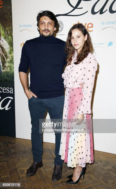 Irene Escolar and Daniel Holguin attend the 'La Princesa Paca' photocall at Ateneo on February 15 2017 in Madrid Spain