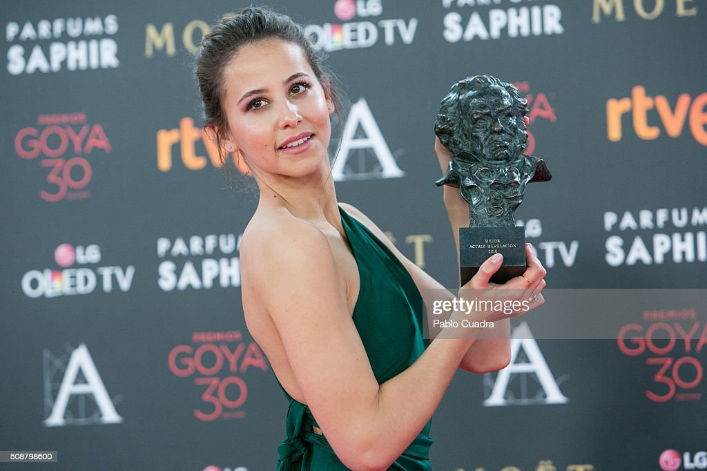 Irene Escolar holds the award for Best New Actress award during the 30th edition of the Goya Cinema Awards at Madrid Marriott Auditorium on February 6, 2016 in Madrid, Spain.