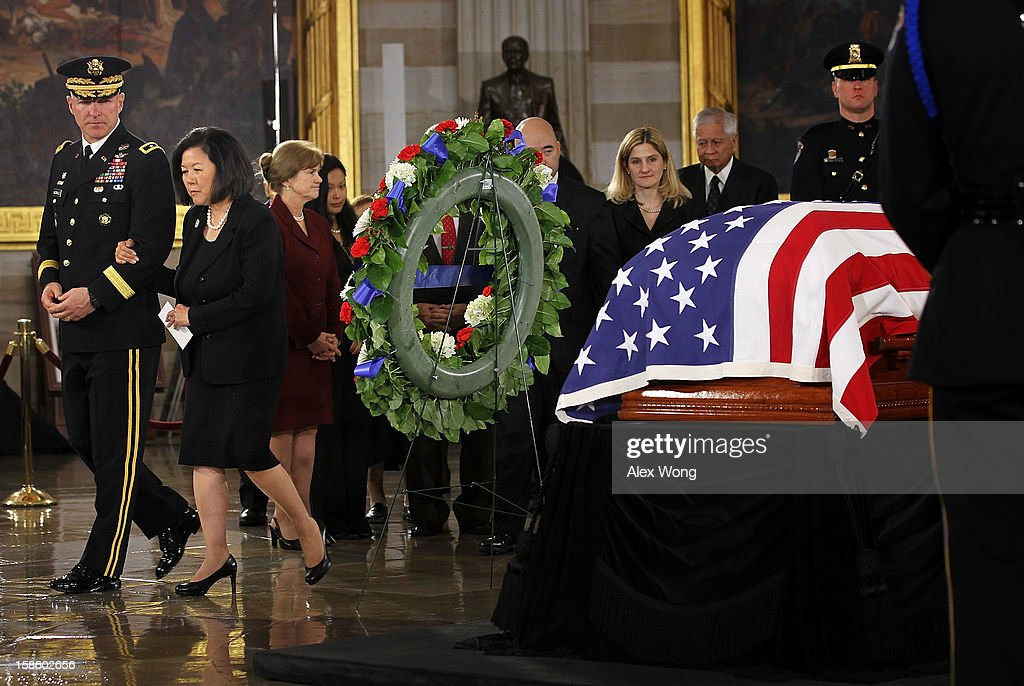 Irene Hirano Inouye, wife of the late Senator Daniel Inouye (D-HI), leaves at the end of the service at the Rotunda of the U.S. Capitol during a service December 20, 2012 on Capitol Hill in Washington, DC. The late Senator had died at the age of 88 on Monday at the Walter Reed National Military Medical Center in Bethesda, Maryland where he had been hospitalized since early December. A public funeral service will be held at the Washington National Cathedral on Friday for Senator Inouye, a World War II veteran and the second-longest serving senator in history. His remains will be returned and laid to rest in his home state.