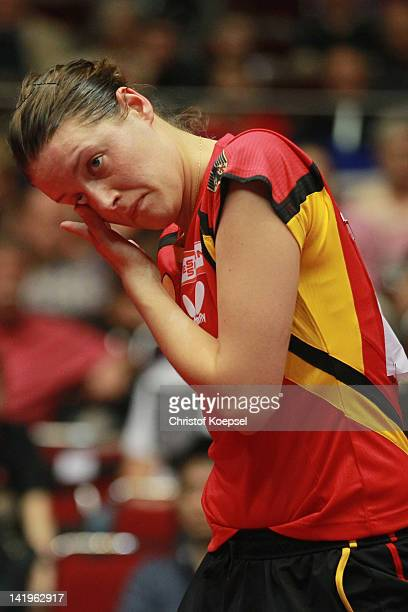 Irene Ivancan of Germany looks dejected during her match against Sayaka Hirano of Japan during the LIEBHERR table tennis team world cup 2012...