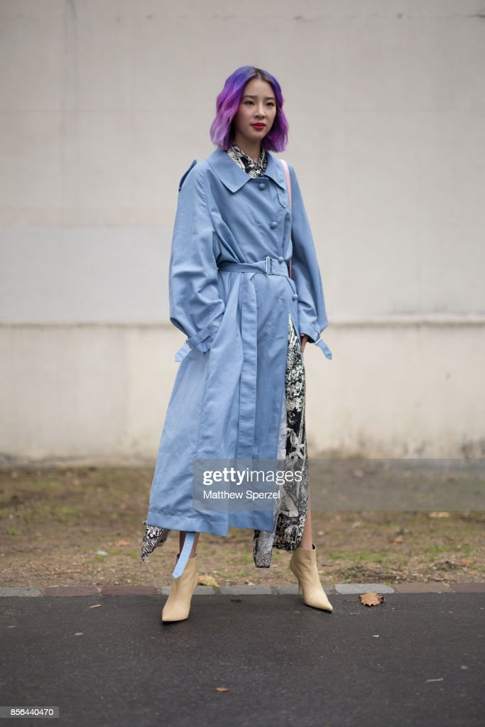 Irene Kim is seen attending Cline during Paris Fashion Week wearing Cline on October 1, 2017 in Paris, France.