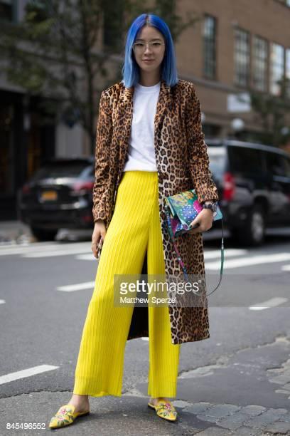 Irene Kim is seen attending Mansur Gavriel during New York Fashion Week wearing Michelle Mason Prada Muzik Eyewear Solis on September 10 2017 in New...