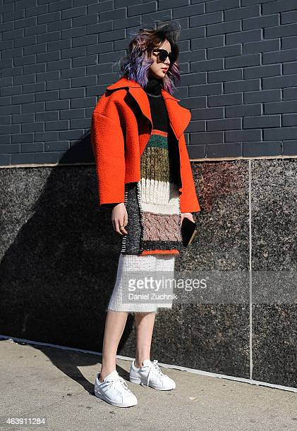 Irene Kim is seen outside the Calvin Klein show on February 19 2015 in New York City