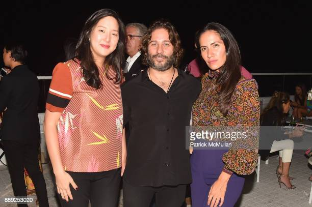 Irene Kim Mike Heller and Nancy Gamboa attend the Galerie Gmurzynska Dinner in Honor of Jean Pigozzi at the Penthouse at the Faena Hotel Miami Beach...