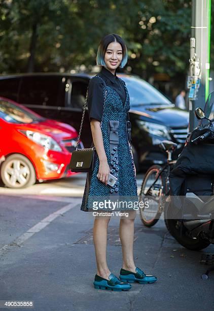 Irene Kim wearing Prada during Milan Fashion Week Spring/Summer 16 on September 24 2015 in Milan Italy