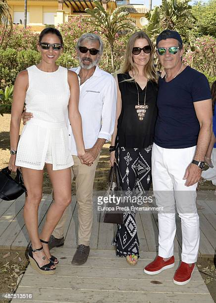 Irene Meritxell Imanol Arias Nicole Kimpel and Antonio Banderas are is seen on July 17 2015 in Marbella Spain