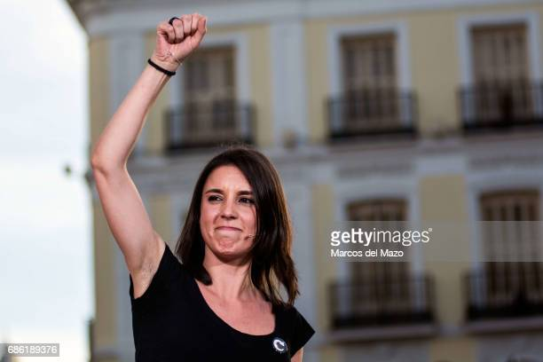Irene Montero of Podemos during a demonstration supporting a vote of no confidence to President Mariano Rajoy