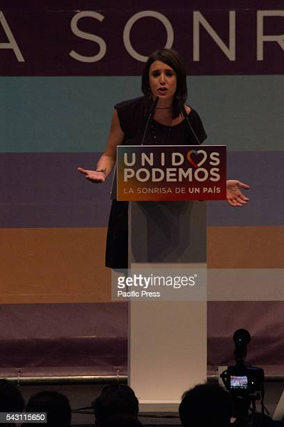Irene Montero speaking during the last campaign rally People supporting Podemos during the last campaign rally before the Spanish general elections...