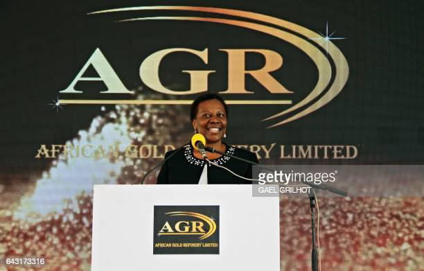 Irene Muloni Minister of Energy and Minerals Development of Uganda gives a press conference at the African Gold Refinery in Entebbe on February 20...