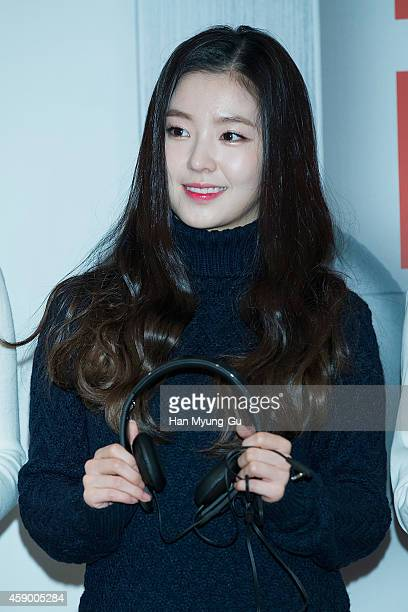 Irene of girl group Red Velvet poses for photographs at the launch event for new products of 'SHURE' on November 14 2014 in Seoul South Korea
