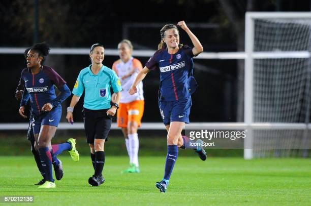Irene Paredes celebrates her goal during the French Women's Division 1 match between Paris Saint Germain and Montpellier on November 4 2017 in Paris...