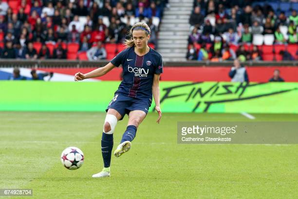 Irene Paredes of Paris SaintGermain is shooting the ball during the Women's Champions League match between Paris Saint Germain and Barcelona at Parc...