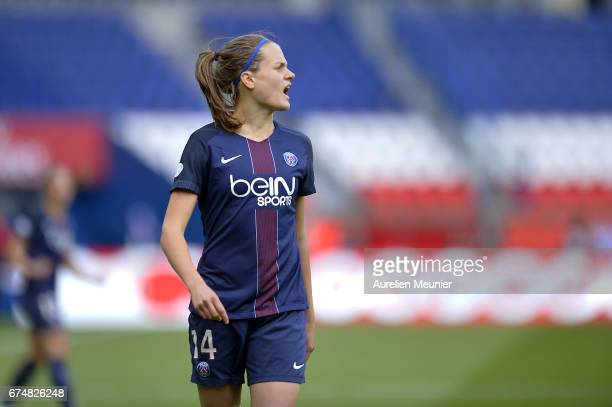 Irene Paredes of Paris SaintGermain reacts during the Women's Champions League match between Paris Saint Germain and Barcelona at Parc des Princes on...