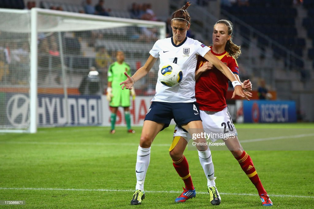 Irene Paredes of Spain (R) challenges Jill Scott of England (L) during the UEFA Women's EURO 2013 Group C match between England and Spain at Linkoping Arena on July 12, 2013 in Linkoping, Sweden.