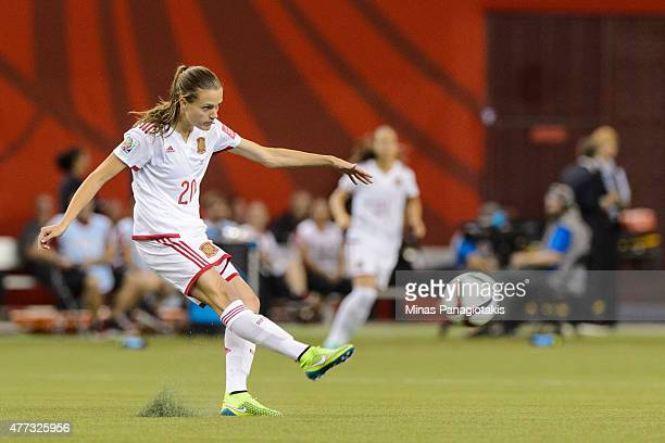 Irene Paredes of Spain kicks the ball during the 2015 FIFA Women's World Cup Group E match against Brazil at Olympic Stadium on June 13 2015 in...