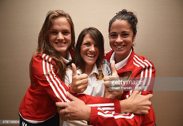 Irene Paredes Ruth Garcia and Marta Torrejon of Spain pose for a photograph during an interview at the Sheraton hotel on June 11 2015 in Montreal...