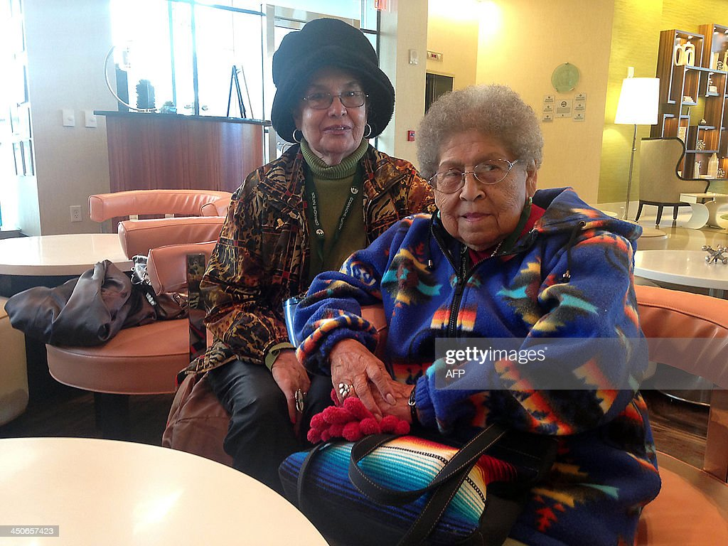 Irene Permansu Lane (R) is pictured November 19, 2013 in Arlington, Virginia, just outside Washington, DC. She has travelled to the US capital to for the Congressional Gold Medal Ceremony honoring her late husband, Comanche Code Talker Melvin Permansu. AFP PHOTO / Ivan COURONNE