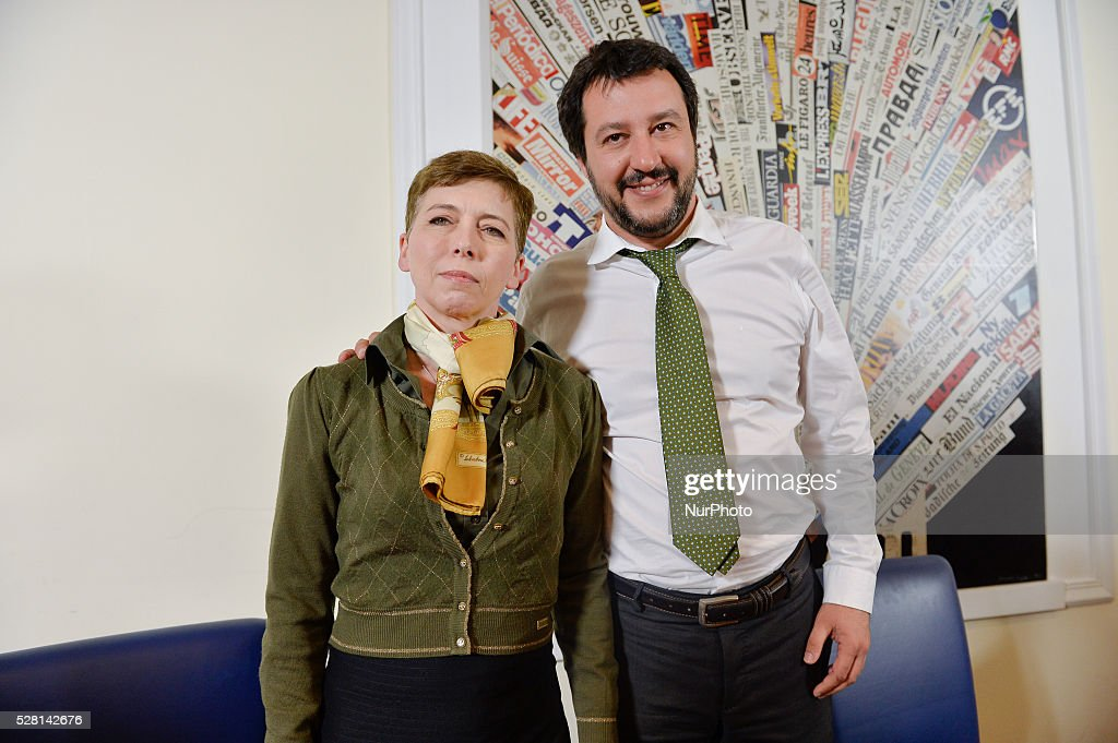 Irene Pivetti (L) and <a gi-track='captionPersonalityLinkClicked' href=/galleries/search?phrase=Matteo+Salvini&family=editorial&specificpeople=2325195 ng-click='$event.stopPropagation()'>Matteo Salvini</a> during the presentation of his autobiographical boot at Foreign Press Office in Rome , on May 04, 2016