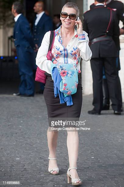 Irene Pivetti arrives at the Quirinale Palace to attend the Annual Party hosted by Italy's President Giorgio Napolitano on May 31 2011 in Rome Italy