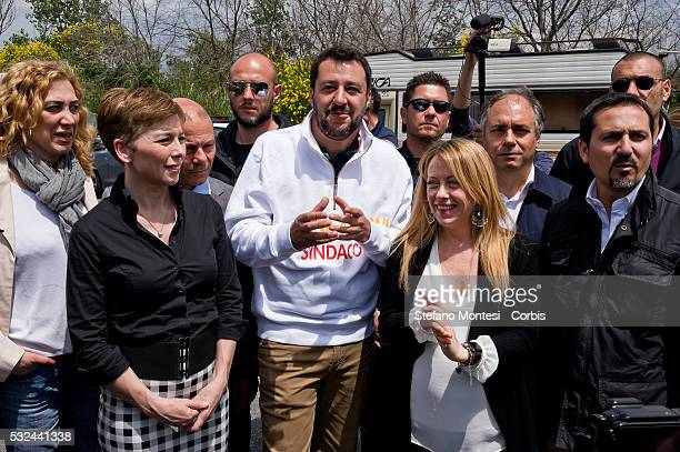 Irene Pivetti candidate to the City of Rome Matteo Salvini secretary of the Northern League the candidate for mayor of Rome Giorgia Meloni disputes...