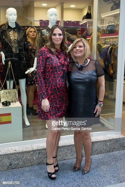 Irene Rosales and Terelu Campos attend the Lola Casademunt boutique opening on October 20 2017 in Malaga Spain