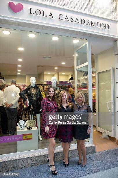 Irene Rosales Maria del Mar Gasso Casademunt and Terelu Campos attend the Lola Casademunt boutique opening on October 20 2017 in Malaga Spain