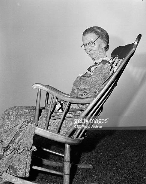 Irene Ryan sits in a rocking chair while playing the part of Granny Daisy Moses a character in the television comedy 'The Beverly Hillbillies' 1965...