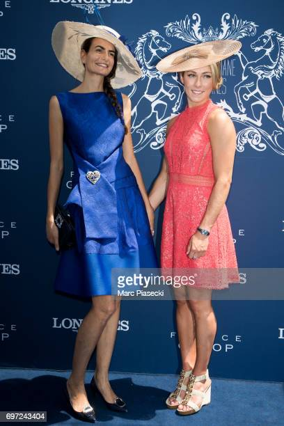 Irene Salvador and Mikaela Shiffrin attend the 'Prix de Diane Longines 2017' on June 18 2017 in Chantilly France