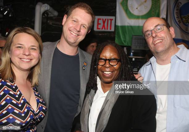 Irene Sankoff David Hein Whoopi Goldberg and Christopher Ashley pose backstage at the hit musical 'Come From Away' on Broadway at The Schoenfeld...