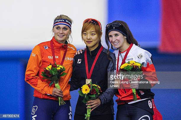 Irene Schouten of The Netherlands BoReum Kim of Korea and Ivanie Blondin of Canada stand on the podium after the Women's Mass Start during the ISU...