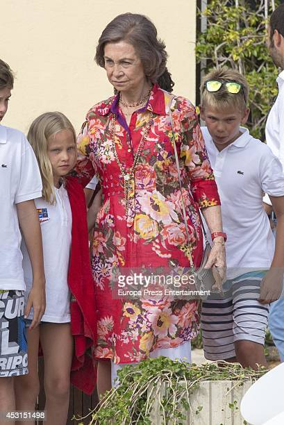 Irene Urdangarin Queen Sofia of Spain and Miguel Urdangarin attend the diplomas delivery of Sailing course for children on August 1 2014 in Palma de...