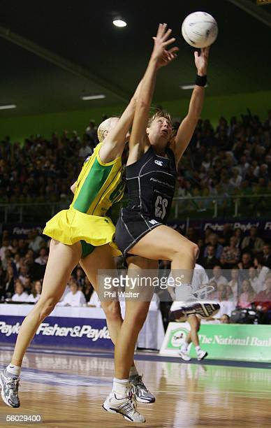 Irene Van Dyk of New Zealand and Demelza Fellowes of Australia leap for the ball during the New Zealand and Australia Netball test match held at...