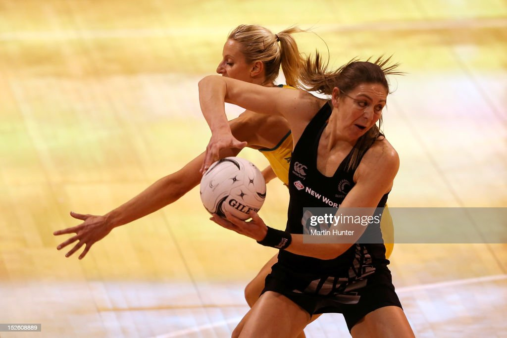 <a gi-track='captionPersonalityLinkClicked' href=/galleries/search?phrase=Irene+van+Dyk&family=editorial&specificpeople=597563 ng-click='$event.stopPropagation()'>Irene van Dyk</a> of New Zealand controls the ball during the Constellation Cup match between the New Zealand Silver Ferns and the Australian Diamonds at CBS Canterbury Arena on September 23, 2012 in Christchurch, New Zealand.