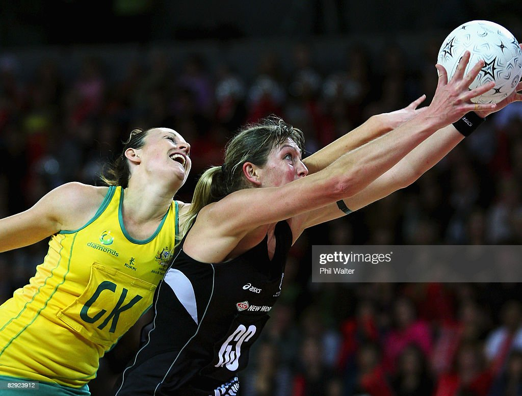 Irene Van Dyk of the Silver Ferns and Bianca Chatfield of the Diamonds compete for the ball during game two of the New World Series match between the...