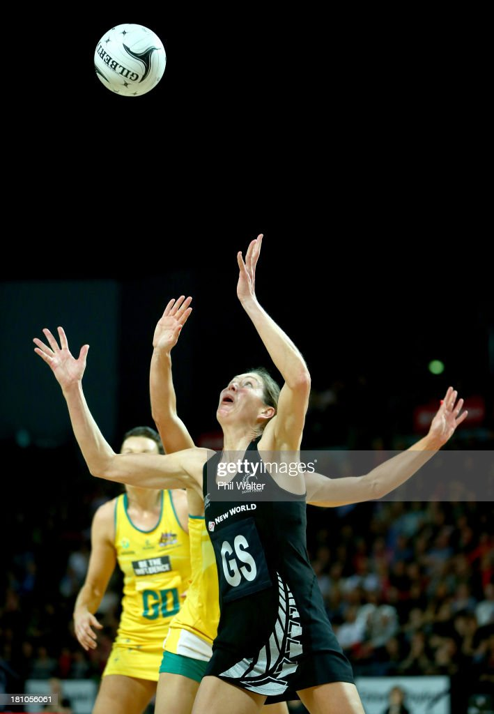 <a gi-track='captionPersonalityLinkClicked' href=/galleries/search?phrase=Irene+van+Dyk&family=editorial&specificpeople=597563 ng-click='$event.stopPropagation()'>Irene van Dyk</a> of the Silver Ferns gets under the ball ahead of Laura Geitz of the Diamonds during game two of the Constellation Series between the New Zealand Silver Ferns and the Australian Diamonds at the Vector Arena on September 19, 2013 in Auckland, New Zealand.