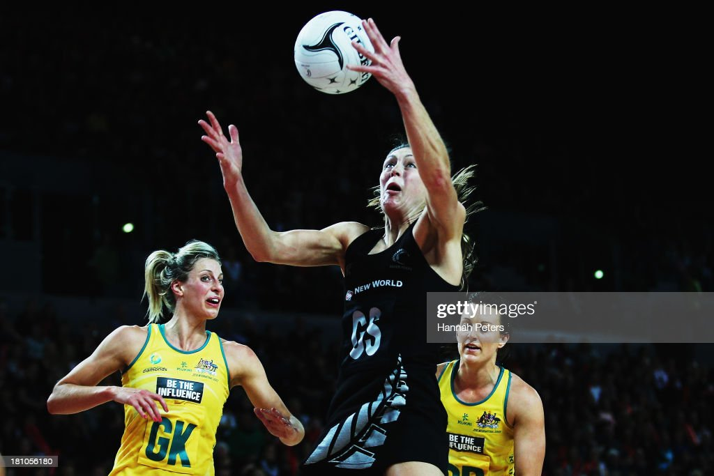 <a gi-track='captionPersonalityLinkClicked' href=/galleries/search?phrase=Irene+van+Dyk&family=editorial&specificpeople=597563 ng-click='$event.stopPropagation()'>Irene van Dyk</a> of the Silver Ferns regains posession during game two of the Constellation Series between the New Zealand Silver Ferns and the Australian Diamonds at Vector Arena on September 19, 2013 in Auckland, New Zealand.