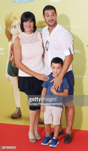 Irene Villa Juan Pablo Lauro and their son Carlos Lauro attend during 'Tadeo Jones 2 El Secreto Del Rey Midas' premiere at Kinepolis cinema on August...