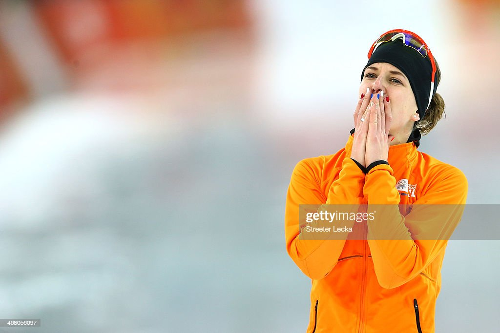 Irene Wust of the Netherlands celebrates after the Women's 3000m Speed Skating event during day 2 of the Sochi 2014 Winter Olympics at Adler Arena Skating Center on February 9, 2014 in Sochi, Russia.