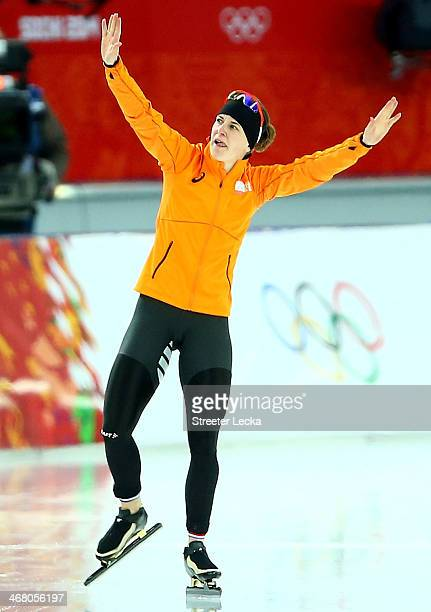 Irene Wust of the Netherlands celebrates after the Women's 3000m Speed Skating event during day 2 of the Sochi 2014 Winter Olympics at Adler Arena...